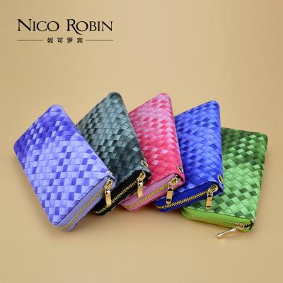 新款钱包女士长款手拿包 时尚编织纹渐变拉链包 学生手机包