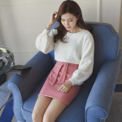 女人志 2017春季新款韩版灯笼袖毛衣+蝴蝶结裙子时尚套装2256