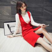 女人志 2017秋冬时尚套装纯色高领毛衣女套头中长款背带裙两件套2251