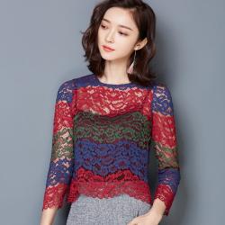 龙鑫 春秋新款女装立领蕾丝衫镂空刺绣上衣打底衫 6209