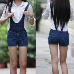 【特价包邮】莲飞 水洗背带裤超短裤蓝色做旧深色多口袋女修身显瘦裤1028