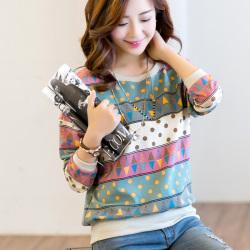 【特价活动款】金丽都 新款圆领显瘦修身几何拼接T恤H33425