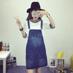 amin韩版宽松休闲显瘦简约时尚牛仔背带裙女夏裙子半身裙 JEB3060