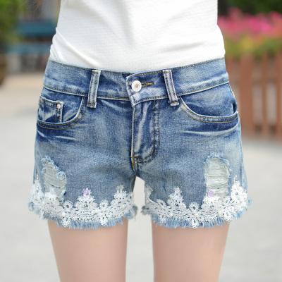 依晨 新款韩版牛仔短裤女夏季磨破洞花边牛仔裤女裤子显瘦大码热裤 3579