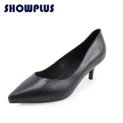 "SHOWPLUS/秀派尖头细跟<span class=""gcolor"">高跟</span>浅口单鞋女真皮通勤ol职业工作<span class=""gcolor"">鞋</span>黑色"