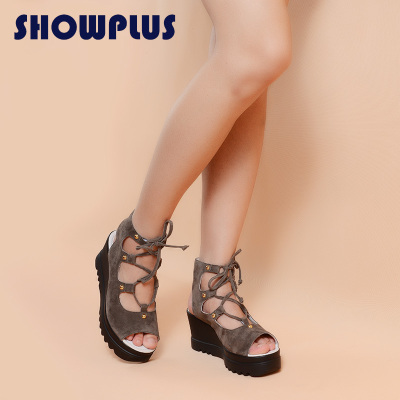 SHOWPLUS/秀派女鞋夏季新款厚底松糕凉鞋真皮休闲中跟坡跟凉鞋女