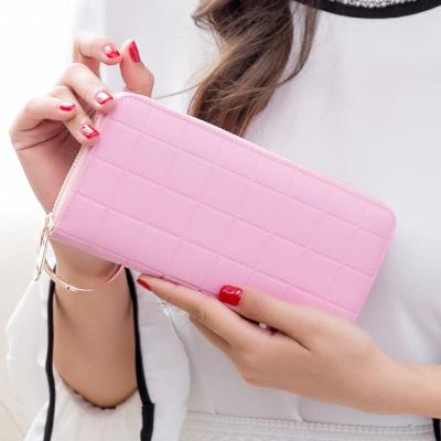 2016夏装新款压格子长版钱包学生零钱包大钞夹拉链手拿包自产自销