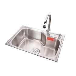 高歌 拉丝喷底 不锈钢单盆水槽 650*440mm
