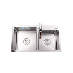 高歌 拉丝不锈钢手工盆 双槽750*410mm