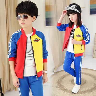 2016童装新款秋季韩版男女童中大童时尚贴标撞色两件套潮一件代发