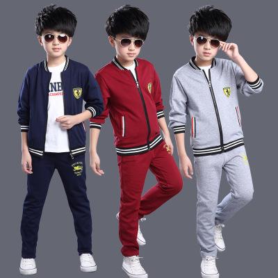 2016童套装秋季新款韩版男童中大童时尚纯色贴标两件套潮一件代发