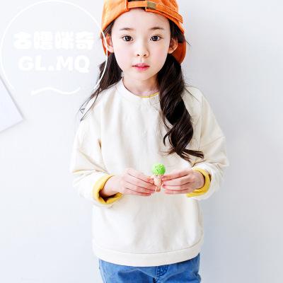 古噜咪奇 女童打底衫上衣中大童韩版新款拼接上衣儿童T恤微商加盟