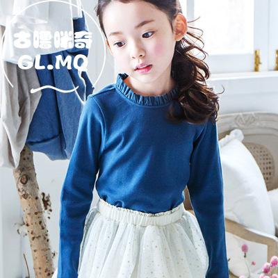 古噜咪奇 春秋装新款韩版中大童装t恤儿童上衣女童打底衫 纯棉
