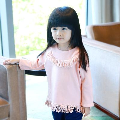 童T恤16秋季新款女童长袖T恤 欧美风时尚儿童T恤宝宝上衣一件代发