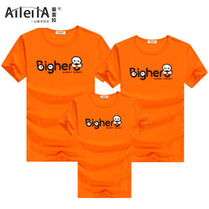 爱蕾拉 2016新款橙色字母短袖亲子装...
