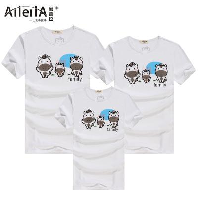 爱蕾拉 2016新款白色奶牛短袖T恤亲子装家庭装