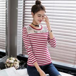 金丽都 2016秋季女装长袖T恤女红白细横条纹体恤  96125