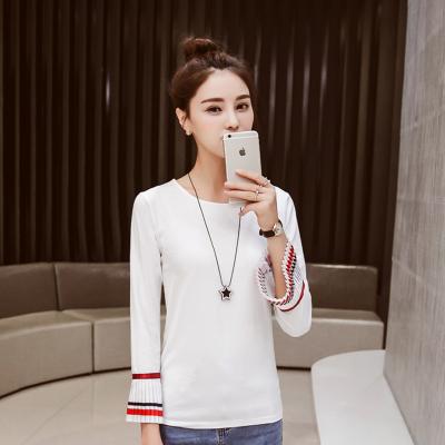 金丽都 2016秋季韩版宽松长袖纯色T恤百搭上衣 96150