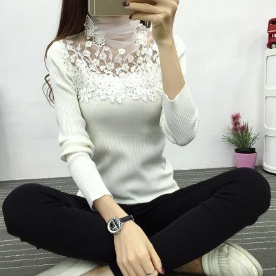 素裁2017韩版新款高领烫钻针织套头修身长袖打底衫女上衣 8373