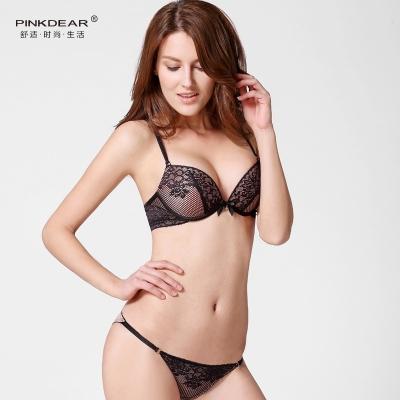 PINKDEAR 欧美性感蕾丝深V上托聚拢文胸套装 8250