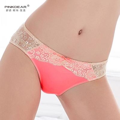 PINKDEAR 简约甜美性感真丝舒适低腰蕾丝边薄内裤 9590