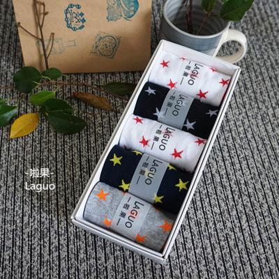 啦果/LAGUO 男士星星图案纯棉船袜透气百搭(礼盒装)