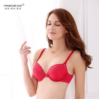 PINKDEAR精美蕾丝刺绣性感深v舒适透气文胸套装 8283
