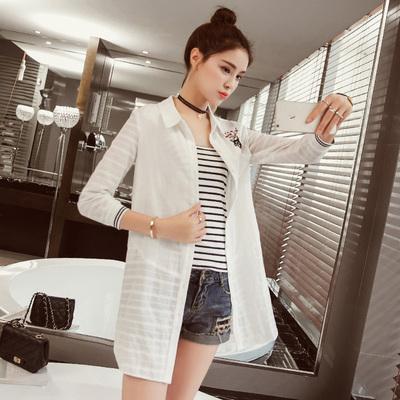 金丽都 2016秋款POLO领白色长袖衬衫女韩范宽松中长款刺绣外套 96132