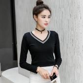 金丽都 秋季女装韩版纯棉修身显瘦薄款V领长袖T恤 96123