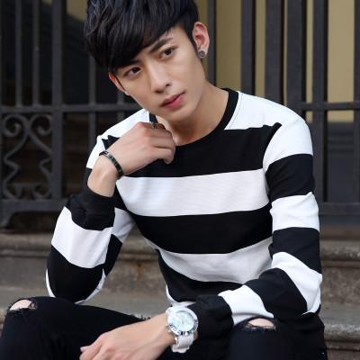 2016新款韩版秋季男士卫衣长袖T恤经典黑白拼色条纹套头卫衣韩版男sep6101