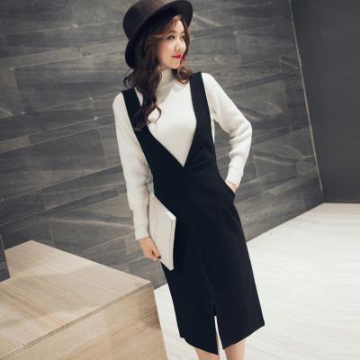 女人志2016秋装连衣裙背带裙韩版中长款修身时尚百搭一步裙单件2251