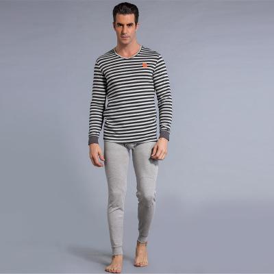 肩周加绒膝盖加绒条纹舒适V领打底保暖男士中年青年套装 NR-007-V