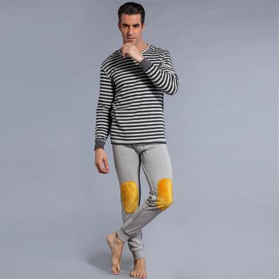 肩周加绒膝盖加绒条纹舒适圆领打底保暖男士中年青年套装 NR-008