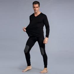 肩周羊绒贴全棉高质双面舒适高档V领打底保暖男士中年青年套装   NR-009