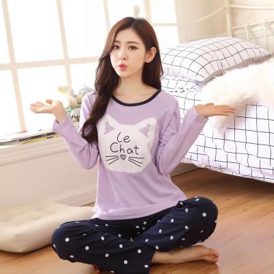 朵朵 韩版春秋季休闲长袖纯棉睡衣女可爱卡通圆领家居套装
