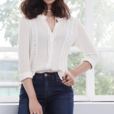 传天其 2016新款雪纺衫层叠拼接立领修身长袖薄款衬衫 SQ-022