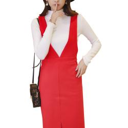女人志 2017时尚套装纯色高领毛衣女套头中长款背带裙两件套2251