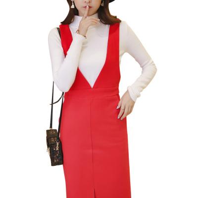 女人志 2016时尚套装纯色高领毛衣女套头中长款背带裙两件套2251