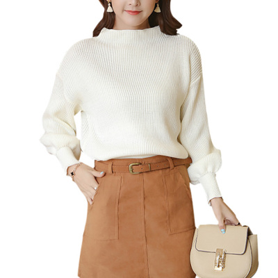 女人志 新款灯笼袖中领毛衣+韩绒料口袋短裙套装送皮带2233