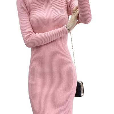 韩美 2017秋装新款修身包臀针织打底衫女长袖中长款连衣裙 411