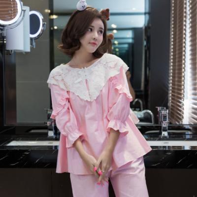 春秋女士纯棉长袖睡衣韩版夏季薄款全棉可爱家居服套装1253