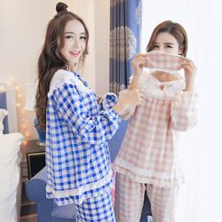 睡衣女士秋季蓝粉色宽松纯棉睡衣套装蕾丝可爱公主睡裙家居服5132