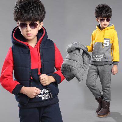 童套装 2016冬季新款韩版 男童中大童时尚加厚数字三件套 代发