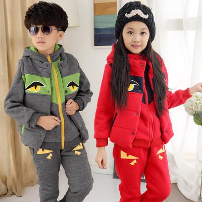 2016秋冬季新款韩版童套装 男女童中大童时尚小怪兽三件套 代发