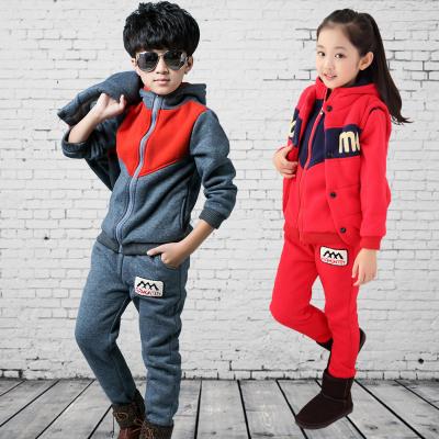 2016秋冬季新款韩版 时尚男女童中大童毛巾绣字母三件套 一件代发