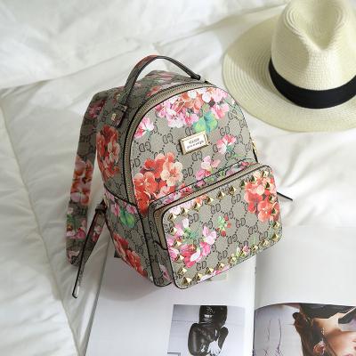 2016秋季新款铆钉背包女包时尚经典印花双肩包
