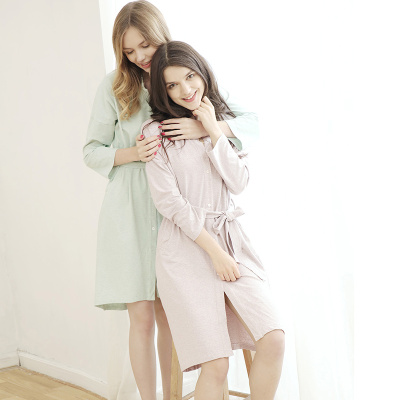 Touching Me 秋季新款长袍系带外套舒适大码长袖中长款睡袍 DS16189
