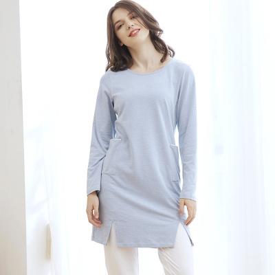Touching Me2016秋季新款欧美棉质条纹居家连衣裙长袖大码睡裙CT16176