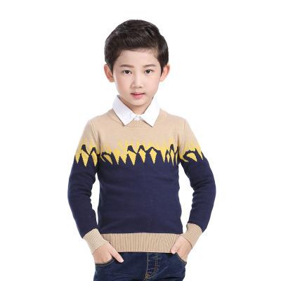 拉狄曼童装男童毛衣秋冬装套头毛线衣儿童纯棉毛衫中大童针织圆领上衣  M007
