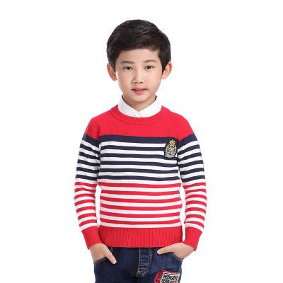 男童毛衣加厚针织衫中大童2016新款套头男孩圆领条纹上衣